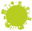 planete verte avec ville, enfants et parents