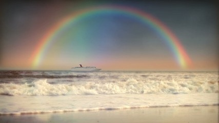 (1200S) Rainbow Sky Ocean Surf Waves Beach Sunset Cruise Ship