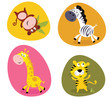 Vector cartoon illustration of monkey, tiger, giraffe and zebra