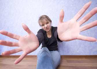 Young girl with hands extended to you
