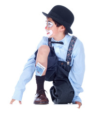 child clown with money in his socks