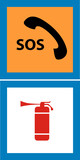 sos telephone and fire extinguisher sign