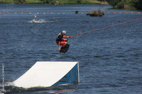 Staande foto Water Motorsp. wakeboarder