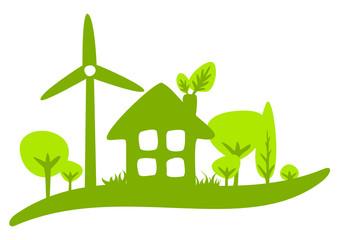 Maison écologie courbe vert