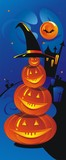 Amusing composition from pumpkins in a hat. Halloween