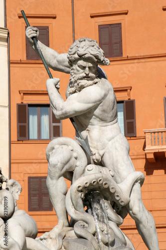 Leinwanddruck Bild Rome - statue from fountain on the Piazza Navona - Posiedon