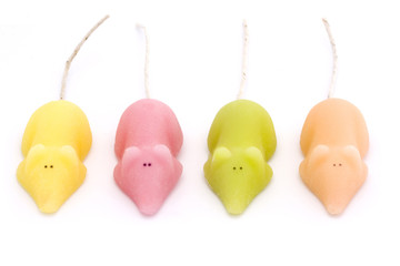 four coloured sugar mice over white