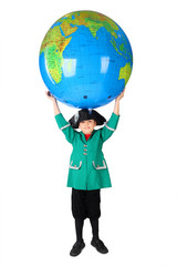 little boy in historical dress holding big inflatable globe