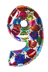 colorful gelium balloon shape number nine for birthday celebrity