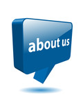 ABOUT US speech bubble icon (web button contact info company 3D)