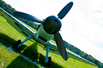 Propeller of the historical Messershmit aircraft on the airfield