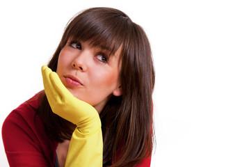 Frau mit Gummihandschuh