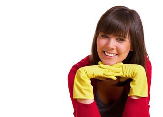 nette Hausfrau mit Gummihandschuhen