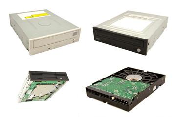 vários componentes armazenamento computador em fundo branco