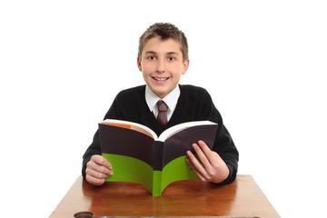 Happy school student with textbook