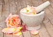 Mortar with rose essence