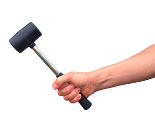 Using a rubber mallet
