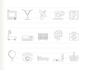 Hotel and motel icons  -Vector icon Set