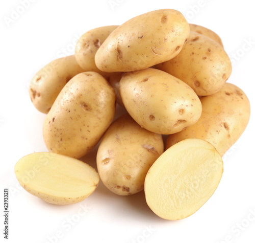 Yellow potatoes with sections