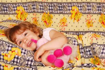 happy little girl bedtime