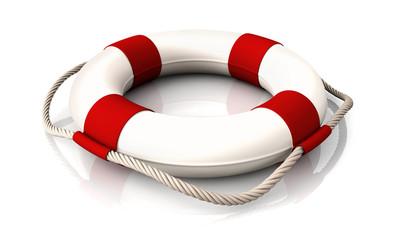 Life belt red white lying