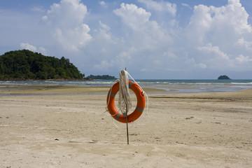 Tropical beach at island Koh Chang , Thailand.