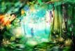 Quadro The magic forest with fairies