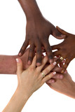 A couple of multiracial hands with different colors over white b