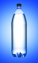 Bottle of water on blue background
