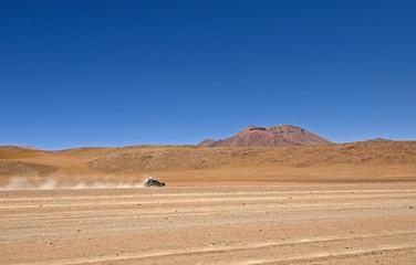 Jeep crossing the Bolivian Desert