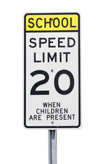 20 mph school zone sign