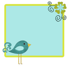 Cute Bird and Flower Template Background