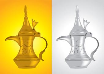 Dallah - the Traditional arabic coffee pot Vector Illustration