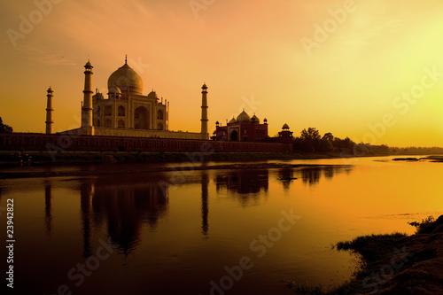 Taj Mahal from the north bank of the Yamuna.