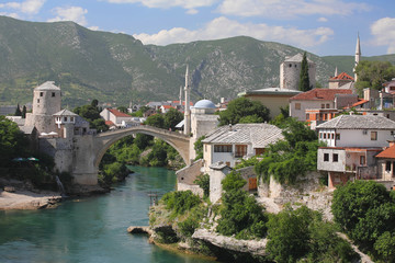 The Old Bridge and the old city center, Mostar