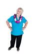 Older woman wearing a lei