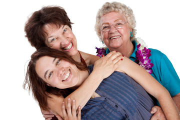 Mothe, daughter, and granddaughter hugging