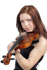 Young woman with the violin isolated