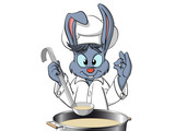 Bunny chef cooking the soup