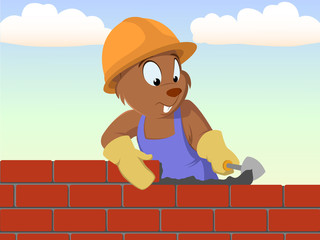 Beaver bricklayer build the brick wall