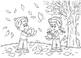 boy and girl play with fallen leafs