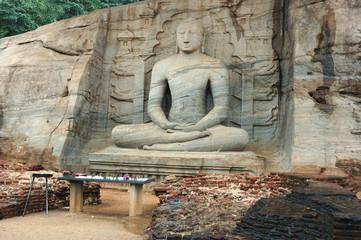 Sitting Buddha in Polonnaruwa,Ceylon