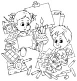 boy and girl drawing in a studio poster