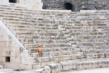 The woman in the ancient Roman amphitheater