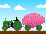 Small tractor pulling a huge brain poster