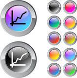 Positive trend multicolor round button. poster