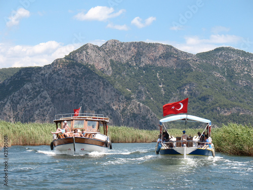 Leinwanddruck Bild trip on Dalyan river, Turkey
