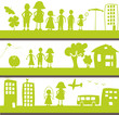 bannière vie d'enfant dans une ville verte