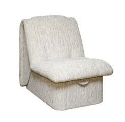 Armchair with white fabric upholstery (side view)
