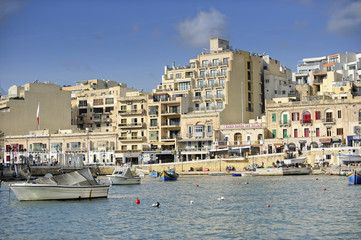 Boats docked at St Julians harbour, Valletta, Malta